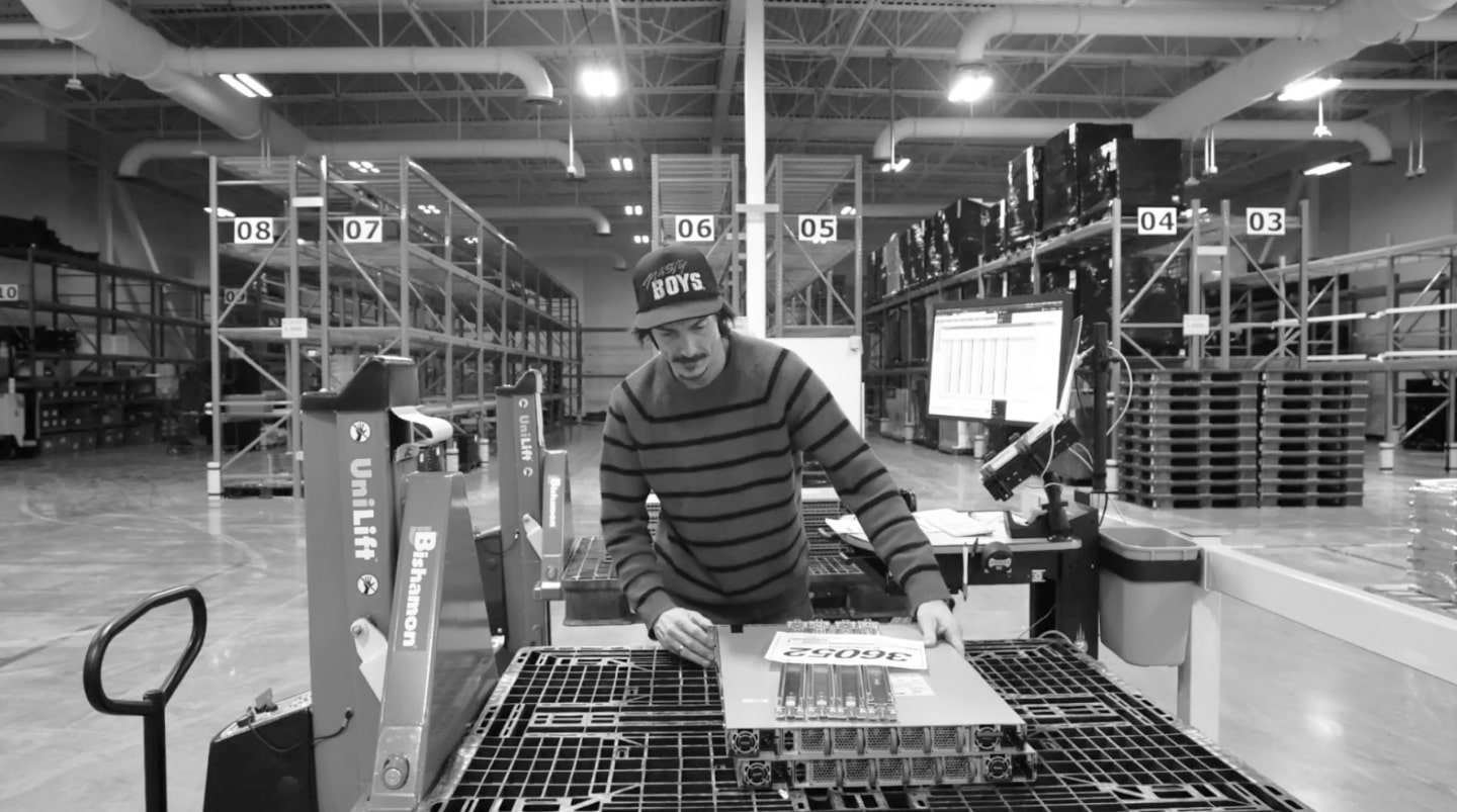 Electronics warehouse worker