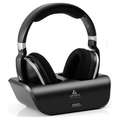 Artiste ADH300 Wireless Tv Headphones Over Ear Headsets With 2.4ghz, Black