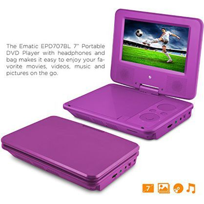 Ematic EPD707PR 7-Inch Portable DVD Player w/Matching Headphones and Bag, Purple