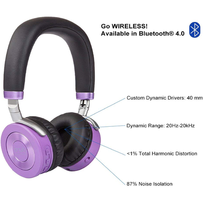 Puro JJBPU Sound Labs JuniorJams, Premium Bluetooth Volume Kids Headphones (Purple)