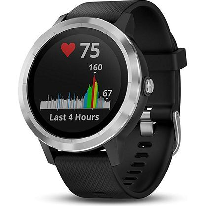Garmin 010-01769-06 Vivoactive 3 GPS Smartwatch (Black with Stainless Hardware) w/ Additional White Band