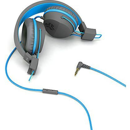 JLab NEONHP-GRYBLU-BOX Neon On Ear Headphones with Universal Mic Gray/Blue