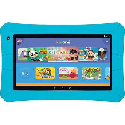 "HighQ ELT0706H 7"" Learning Tablet featuring Kidomi, Quad Core, 8GB Storage, Dual Cameras, Drop Protective Gel Case Included, Blue"