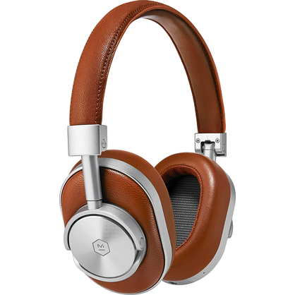 Master & Dynamic MW60S2  Wireless Premium Leather Over-Ear Headphones with Extended Bluetooth 4.1 Range & 45mm Neodymium Driver- Brown/Silver